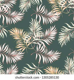Seamless pattern of a tropical palm tree, jungle leaves. Vector floral pattern.