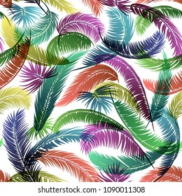 Seamless Pattern, Tropical Palm Trees Colorful Branches with Leaves Silhouettes on Tile White Background. Vector