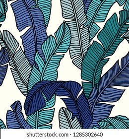 Seamless pattern of Tropical palms leaves. Exotic creative universal floral pattern. Design for poster, card, invitation, placard, flyer, textile.Vector Illustration.