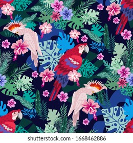 Seamless pattern with  tropical parrots. Colorful exotic bacground  Birds, leaves, flowers, plants and branches art print for travel and holiday, fashion, posters. Vector illustration  EPS 10