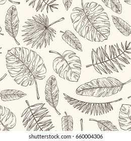 Seamless pattern with tropical plant and  tropical leaves. Vector hand drawn illustration
