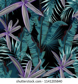 Seamless pattern with tropical plants. Dark and bright palm leaves on the black background. Vector seamless pattern. Tropical illustration. Jungle foliage.