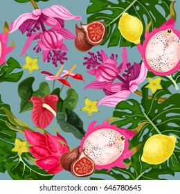 Seamless pattern with tropical plants. Jungle. A tropical forest. Design of textiles and prints for clothing.