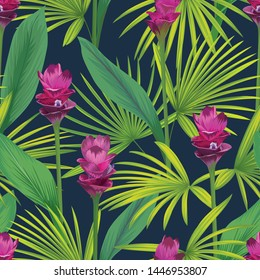 Seamless pattern with tropical siam tulip flowers and palm leaves background. Vector set of exotic tropical garden for holiday invitation, greeting card and textile fashion design.