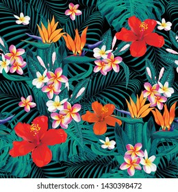 Seamless pattern tropical summer with pink pastel Frangipani,red Hibiscus,bird of paradise flowers and monstera leaves abstract background.Watercolor Drawing Vector illustration.