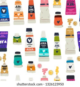 Seamless pattern tube colours flat style images. Cartoon icons of oil, acrylic and gouache paints. Multicolor painting essentials. Designed art store, studio decoration, workshop appearance. Vector