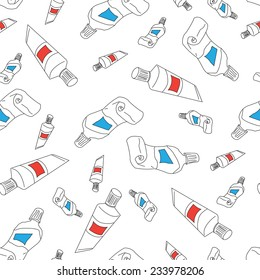 Seamless pattern of tubes of paint. Vector illustration.