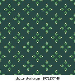 Seamless pattern with tulips in flat modern style. Design from multi-colored tulips in Damascus style. Vector illustration - Shutterstock ID 1972237448
