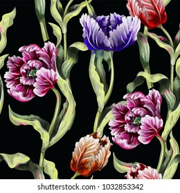 Seamless pattern with tulips flowers drawing in different style graphic and realistic. Trendy fashion vector illustration.