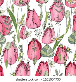 Seamless pattern with tulips and herbs. Endless texture for your design