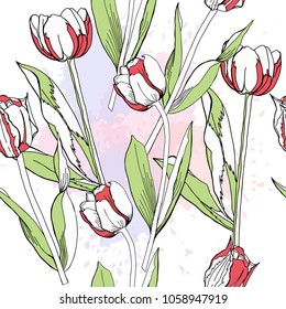 Seamless pattern with tulips.Vector Illustration