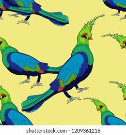 seamless pattern Turako Livingston Bananoed Tropical Parrot  vector illustration