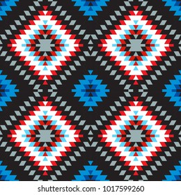 Seamless pattern Turkish carpet pink blue white red gray. Colorful patchwork mosaic oriental kilim rug with traditional folk geometric ornament. Tribal style. Vector