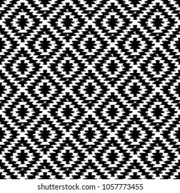 Seamless pattern Turkish carpet white black. Patchwork mosaic oriental kilim rug with traditional folk geometric ornament. Tribal style. Vector
