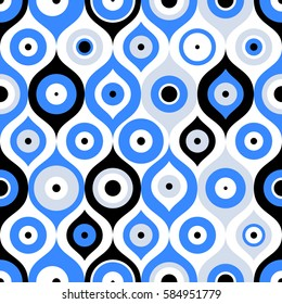 Seamless pattern with Turkish evil eye bead. Good luck. Turkish tile. Oriental ottoman design vector background. Perfect for wallpapers, pattern fills, web page backgrounds, surface textures, textile
