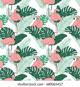 Seamless pattern turquoise green monstera leaves with pink exotic flamingo