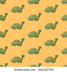 seamless pattern turtle animal on yellow background vector wallpaper textile giftwrap