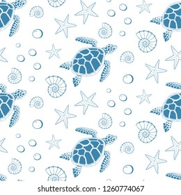 Seamless pattern of turtle, sea stars and shells. Vector illustration.