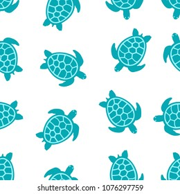seamless pattern with turtle turquoise on white, banner with turtles and flowers