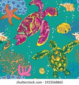 Seamless pattern with turtles, fish, corals and shells. Vector illustration.