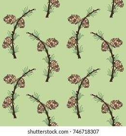 Seamless PATTERN with twigs and larch cones on a green background. Vector. Illustration