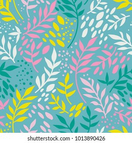 seamless pattern with twigs and leaves, can be used for easter holiday, vector illustration