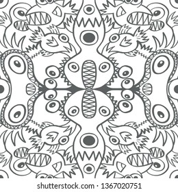 Seamless pattern with two axes of symmetry depicting monsters, aliens and weird creatures in scary mood. They form a repetitive weird design in a decorative style with flat colors