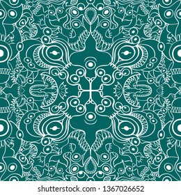 Seamless pattern with two axes of symmetry depicting aquatic creatures in an aqua color background. The monsters and other mirrored beings form whimsical decorative figures