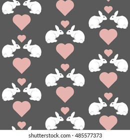 Seamless pattern with two cute white rabbits and heart on grey background