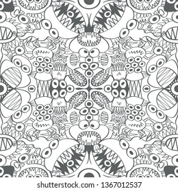 Seamless pattern with two symmetrical axes depicting monsters, aliens and weird creatures in scary mood.  They form a repetitive design in  a decorative style with flat colors