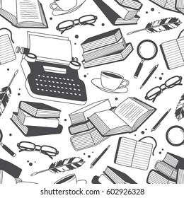 Seamless pattern with typewriters and books, objects of writing and reading. Black and white illustration with hand drawn elements. Design backdrop vector.  Decorative wallpaper, good for printing