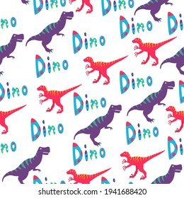 """A seamless pattern with a tyrannosaurus, velociraptor and the word """"Dino"""" on a white background."""