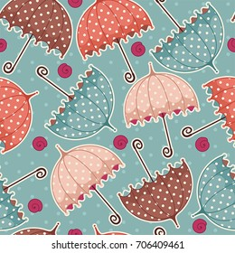 Seamless pattern with umbrellas. Fabric background for kids paper products. Beautiful abstract design for cards, invitations, wedding or baby shower albums and scrapbooks. Vector illustration