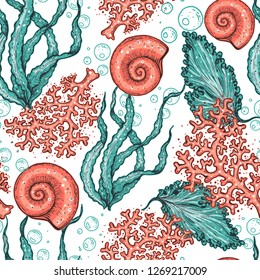 Seamless pattern. Underwater world hand drawn. Color illustration. Seaweed, coral, seashell illustration. Vintage design template. Undersea world collection.