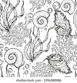 Seamless pattern. Underwater world hand drawn. Sketch illustration. Seaweed, coral, seashell illustration. Vintage design template. Undersea world collection. Black and white style.