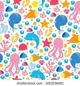 seamless pattern underwater world set with fish, dolphin, crab, seaweed, coral, starfish, seashells. ocean for children. cute fish for children