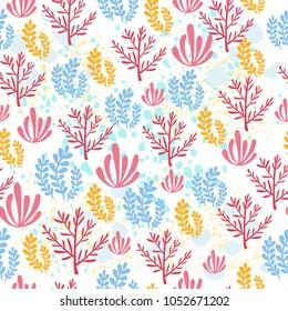 seamless pattern underwater world set  coral ocean for children. cute nature for children