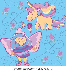 Seamless pattern with unicorn, fairy and light floral background elements