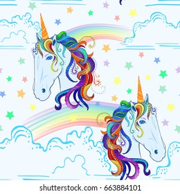 seamless pattern unicorn rainbow clouds 260nw