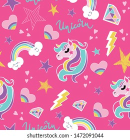 Seamless pattern with unicorn, star, rainbow, hearts, lightning, brilliant. Vector background for kids, textile, fabric, web, wrapping paper and other design.