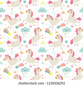 Seamless pattern with unicorns