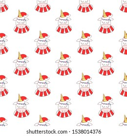 seamless pattern with unicorns in a Christmas hat and scarf. Soft pastel colors of a unicorn and a bright red scarf and hats