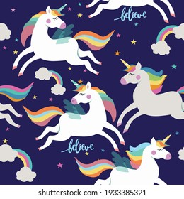Seamless pattern with unicorns , clouds, stars and rainbows . Vector illustration.