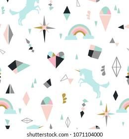 Seamless pattern with unicorns, clouds,stars, diamond, ice cream. Vector background illustration