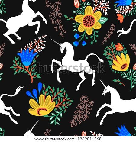 Seamless Pattern Unicorns Flowers Magical Herbs Stock Vector
