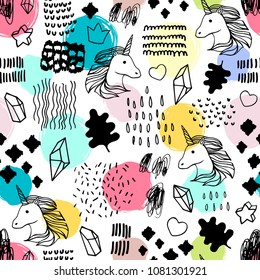 Seamless pattern with unicorns and magic items.