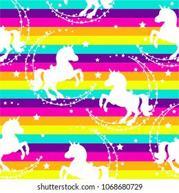 Seamless pattern with unicorns, month, stars on a rainbow background. Baby cute colorful background.