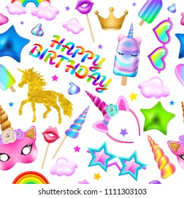 Seamless pattern with unicorns, rainbow, ice cream, hoop, mask, crown, sunglasses and other elements on a white background. Realistic vector illustration.