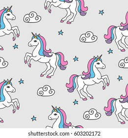 Seamless pattern with unicorns and stars. Baby background.
