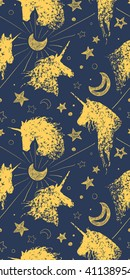 Seamless pattern with unicorns, stars, clouds and abstraction, paint splashes. Endless cute colorful background. Hand drawn vector illustration, realistic and cartoon doodle sketches.